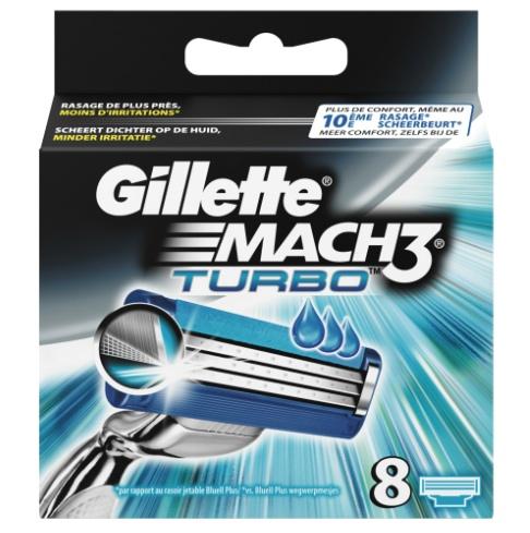 Dagaanbieding - Gillette Mach3 Turbo Scheermesjes 8 stuks pack dagelijkse aanbiedingen