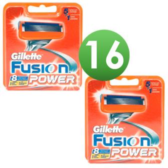 Dagaanbieding - Gillette Combi Scheermesjes Fusion Power 16 stuks = 2 x 8 mesjes dagelijkse aanbiedingen