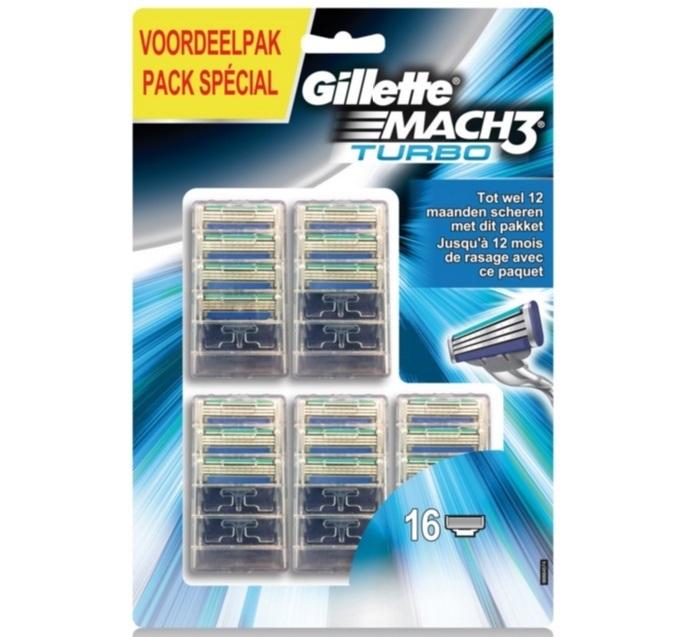 Dagaanbieding - Gillette Mach3 Turbo 16 mesjes dagelijkse koopjes