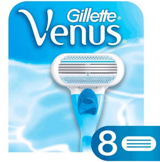 Gillette Venus Women 8 Scheermesjes - Gillette Venus 8 Scheermesjes. Verpakking van 8 stuks Gillette Venus Scheermesjes voor het Venus scheersysteem. De Venus scheermesjes zijn uitgerust met beschermende kussentjes rondom het scheersysteem met 3 mesjes voor een gladde, uiterst zachte scheerbeurt in slechts één beweging. Deze scheermesjes passen op alle houders die de naam Venus bevatten dus passen ook op bijvoorbeeld een Venus Divine of Venus Breeze houder, behalve Simply Venus. Duurzame glijstrip met een vleugje aloë voor (...)