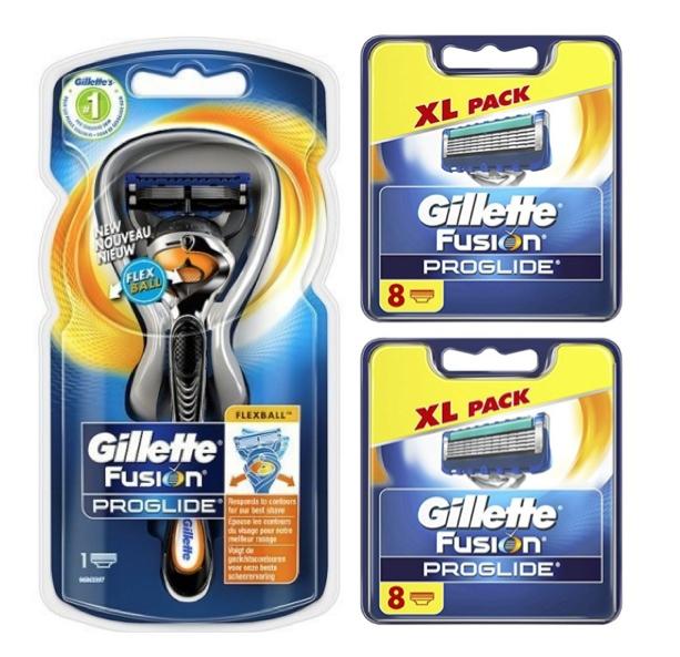 Dagaanbieding - Gillette Combi Scheerapparaat Fusion Proglide Flexball + 2x8 scheermesjes dagelijkse aanbiedingen