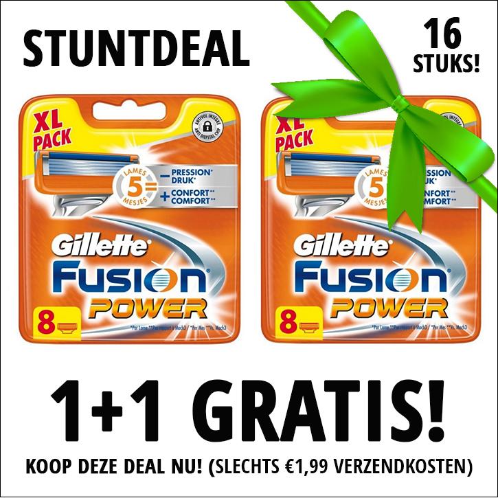 Dagaanbieding - Gillette Fusion Power scheermesjes 1+1 8 pack Gratis dagelijkse aanbiedingen