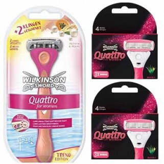 Wilkinson Sword Combi Quattro For Women Pink Syst incl 9 mesjes