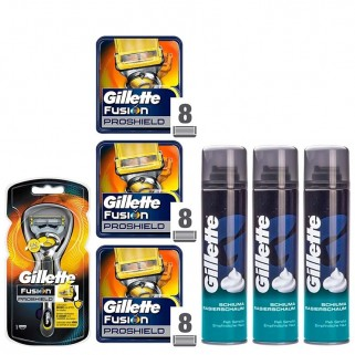 Gillette Fusion ProShield Houder incl 25 Mesjes + 3x Sensitive Scheerschuim 300ml