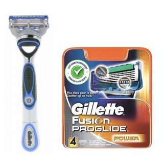 Gillette Combi Fusion ProGlide Power Houder Chrome Blue + 4 pack