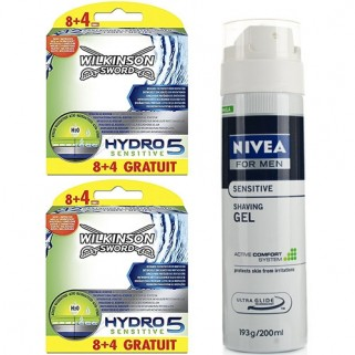 Wilkinson Combi Hydro5 Sensitive 16 + 8 Mesjes + Nivea Sensitive Scheergel 200ml