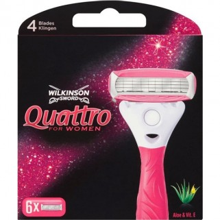 Wilkinson Quattro For Woman Scheermesjes 6 Stuks