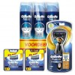 Gillette Combi Fusion ProGlide Flexball Houder incl 17 Mesjes + 3x ProGlide Hydrating Gel 200ml