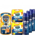 Gillette Combi Fusion ProGlide Power Flexball Houder incl 17 Mesjes + 3x 200ml ProGlide Hydrating Gel